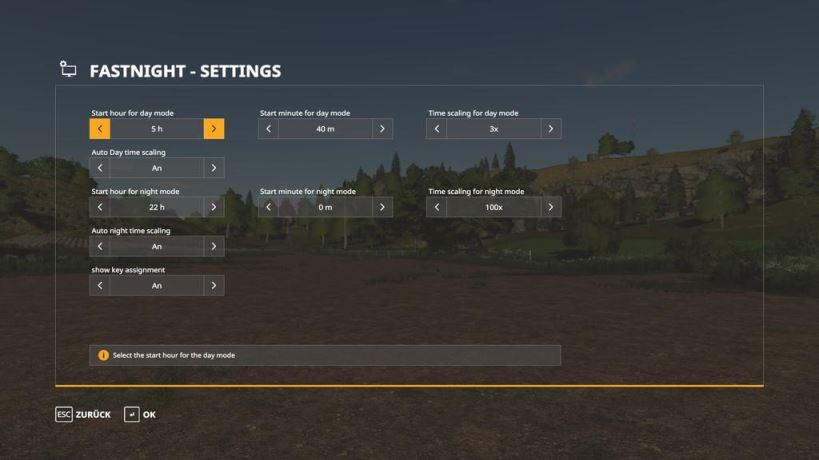 Мод «Быстрая ночь» для Farming Simulator 2019