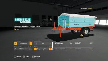 MOД MENGELE MEDK SINGLE AXLE V1.0.0.0 для Farming Simulator 2019