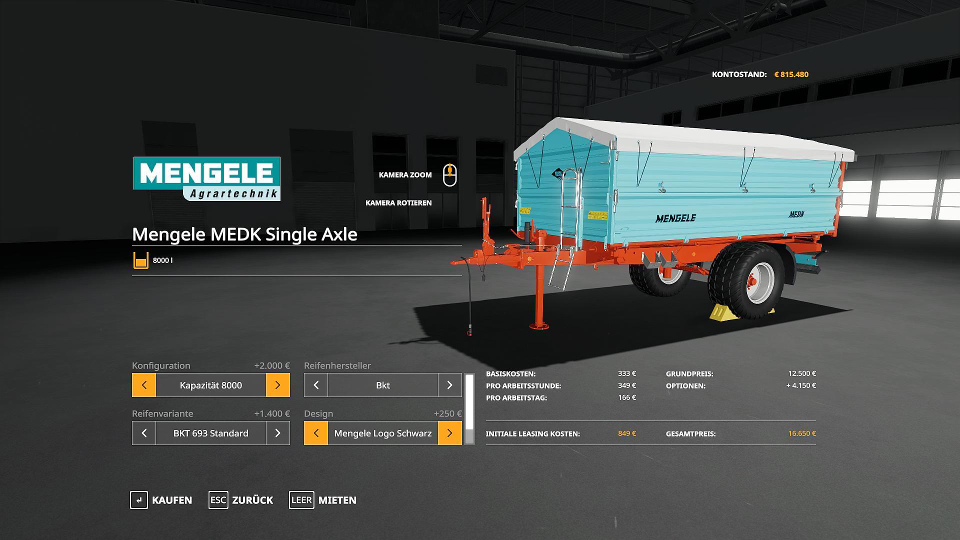 MOД MENGELE MEDK SINGLE AXLE V1.0.0.0 для Farming Simulator 2019