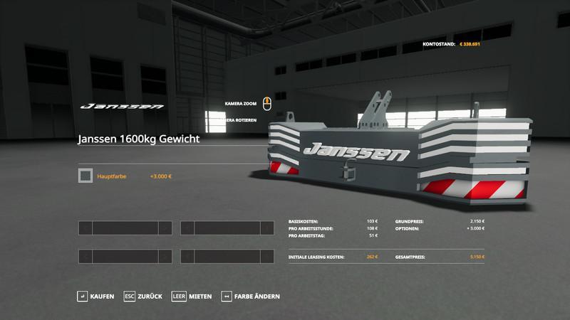 JANSSEN 1600KG WEIGHT V1.0.0.0 для Farming Simulator 2019