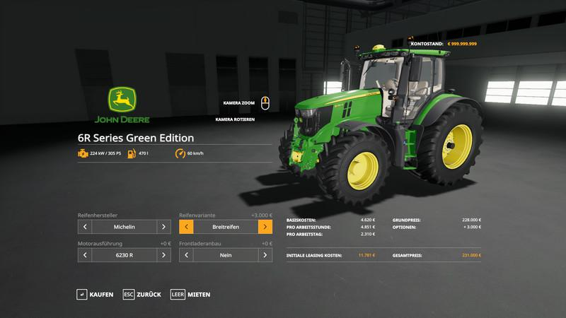JOHN DEERE 6R GREEN EDITION V1.0.0.8 для Farming Simulator 2019