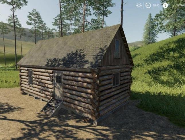 PLACEABLE LOG CABIN WITH SLEEP TRIGGER V1.0 для Farming Simulator 2019