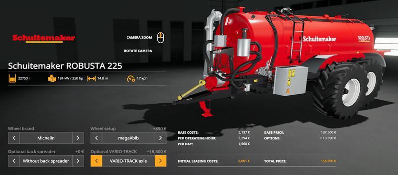 SCHUITEMAKER ROBUSTA 225 PACK V1.0 для Farming Simulator 2019