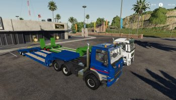 16 WHEELS LOWDECK TRAILER V1.1.0.1 для Farming Simulator 2019