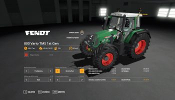 FENDT 800 VARIO TMS V1.0.0.9 для Farming Simulator 2019