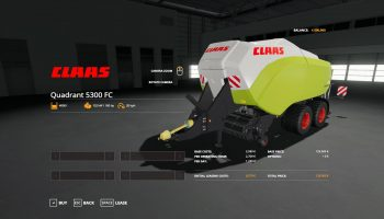 CLAAS QUADRANT 5300 FC V1.1 для Farming Simulator 2019