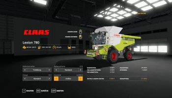 LEXION 780 WITH CAPACITY SELECTION AND CUTTERS V1.1 для Farming Simulator 2019